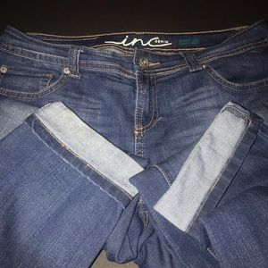 INC Denim Jeans - INC Denim, dark wash, light fade, skinny leg jean